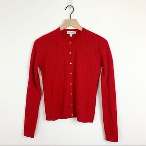 St. John Sport Red Cashmere Cable Knit Cardigan 2